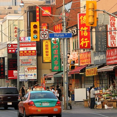 Chinatown District: Along Dundas St., looking east at Huron Street, Toronto, ON, Canada