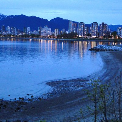 Dusk View of Downtown and West End from Kitsilano Beach - Vancouver BC - Canada