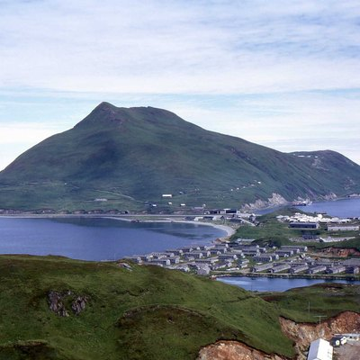 United States, Alaska, Amaknak Island And The Sight Of What Remains In 1972 Before The Cleanup Of The Late '80 Of Dutch Harbor Naval Operating Base And Fort Mears, U.S. Army , In The Background Is Mount Ballyhoo.