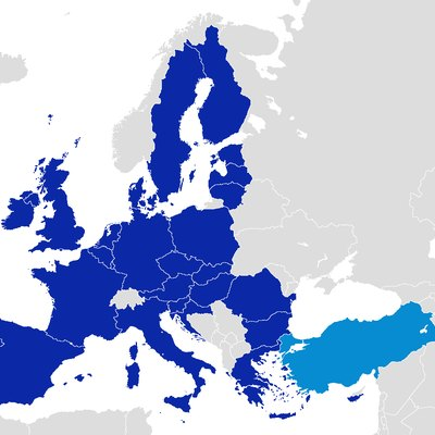 European Union members and official candidate and negotiator country Turkey's location map.