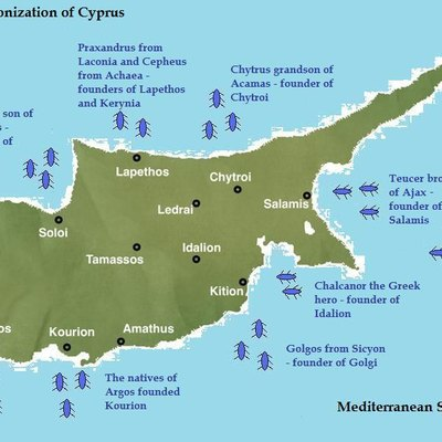 Image depicts the Early Greek colonization of Cyprus - from the book: Cyprus within the Ancient Greek World by Panayiotis Georgiou