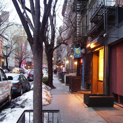 Streetscape: East 5th Street between Second Avenue and Cooper Square (Third Avenue) in the East Village neighborhood of Manhattan, New York City in wintertime. Most of the street is located within the East Village/Lower East Side Historic District (Source: