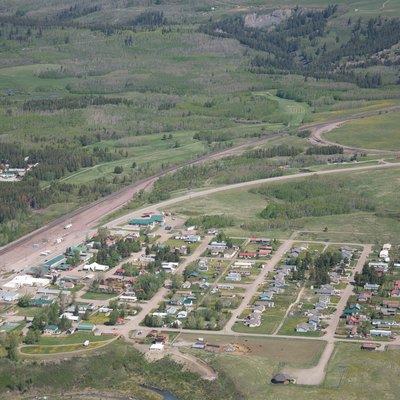 Aerial view of East Glacier Park Village, Montana, USA
