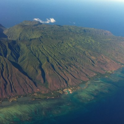 Aerial view of the East side of Molokai, Hawaii