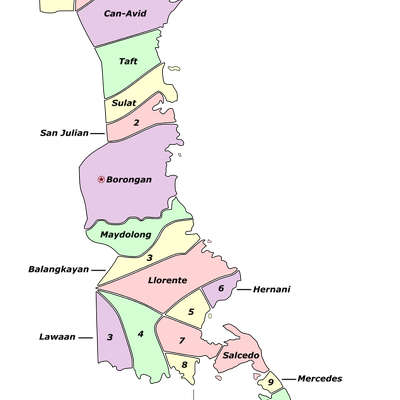 Labelled colored map of the province of Eastern Samar, showing its component city and municipalities.