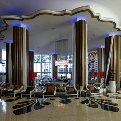 The main lobby of the Eden Roc Hotel in Miami Beach, Florida, USA