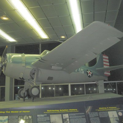 A Grumman F4F-3 Wildcat on Display in Terminal 2 at O'hare Airport. It is identical to the one flown by Edward O'Hare.