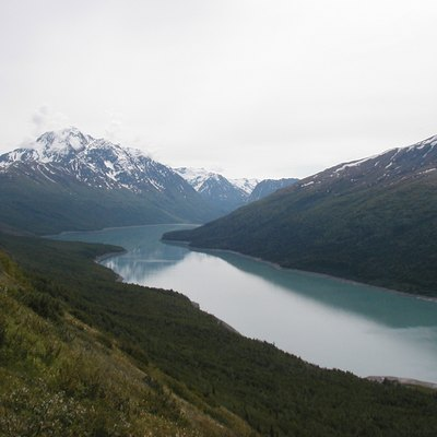 Eklutna Lake and Bold Peak, Chugach State Park, Alaska, United States. Taken from above the north end of the lake, looking roughly south