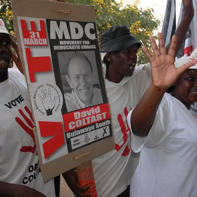 MDC supporters of David Coltart outside Nketa Community Hall, Bulawayo, in the run up to the March 2005 Parliamentary General Election in Zimbabwe.