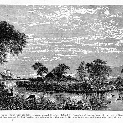 Artist's conception of the fort built by Bartholomew Gosnold's expedition on Elizabeth Islet, Cuttyhunk Is., Mass., in May/June 1602. The first English habitation in New England.