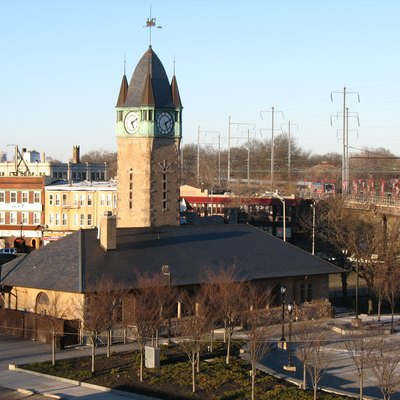 Looking northeast at Elizabeth Station. In the foreground is the historic Central Railroad of New Jersey station and clock tower. In the background is the current New Jersey Transit station.