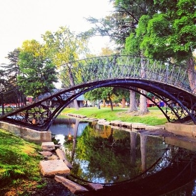 The iron bridge at Elm park in Worcester, MA.