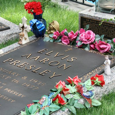 Elvis Presley's grave at Graceland in Memphis, Tennessee