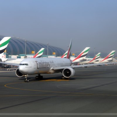 An extreme busy morning for Emirates, sistership B77W Bravo Mike taxiing out for departure while our B77W Bravo Echo taxi out for departure to Kuwait KWI/OKBK, taken at Dubai International Airport DXB/OMDB, Dubai, United Arab Emirates