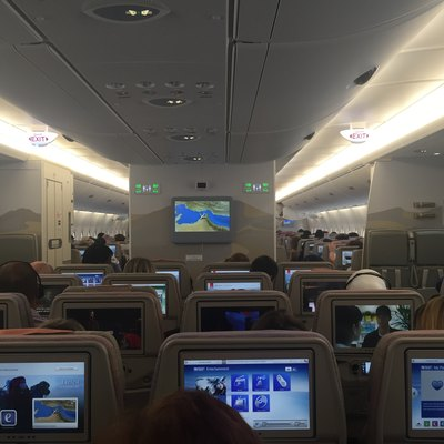 Emirates' New IFE on the A380 reg A6-EOP. The first 2 class configuration of Emirates A380 fleet