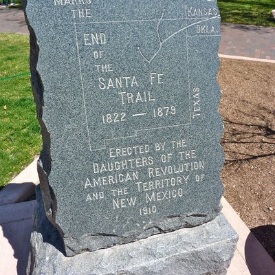 End of Santa Fe Trail marker in Santa Fe, New Mexico