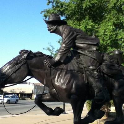 Boomer statue by Harold T. Holden in downtown Enid, Oklahoma.