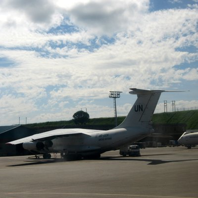 The UN plane parked at Entebbe International Airport.