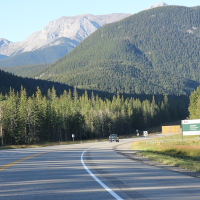 Entering Jasper National Park on the Yellowhead Highway (Trans-Canada Highway).