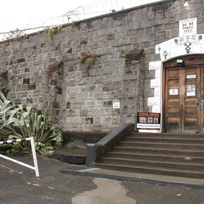 Outside wall and entrance of historic Napier Prison.
