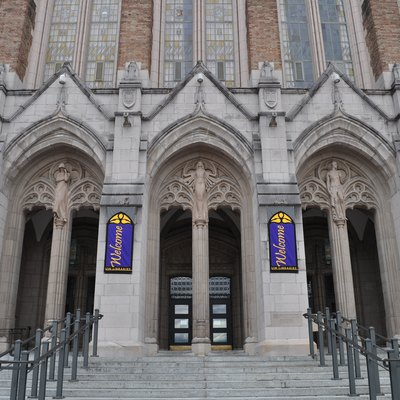 Main entrance of Suzzallo Library, University of Washington, Seattle, Washington.