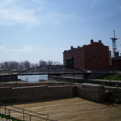 Looking into the Erie Canal Harbor in Buffalo, New York with Naval Museum. The official grand opening was held on July 2, 2008 with attendees such as Hillary Clinton and Charles Schumer. Image taken April 21, 2008.