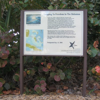 Sign at Bill Baggs Cape Florida State Park near the Cape Florida Lighthouse, Key Biscayne, Florida.