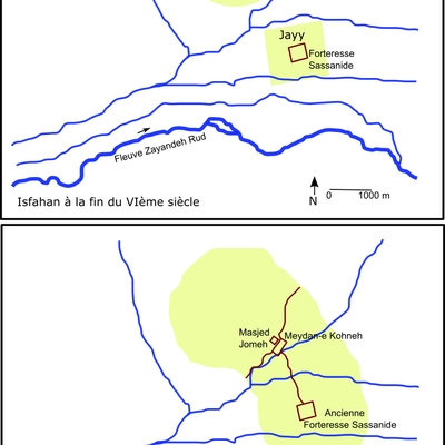 Scheme of the town of Isfahan, Iran during the 6th and 11th century. french language