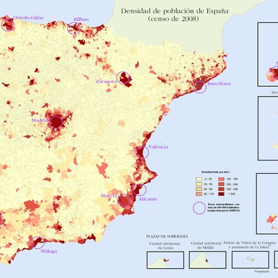 Population density of Spain (2009)
