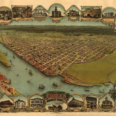 A.C. Noe's map of Eureka, California in 1902. Also called the Eureka Bird's Eye View Perspective. Map 65 X 96 cm.