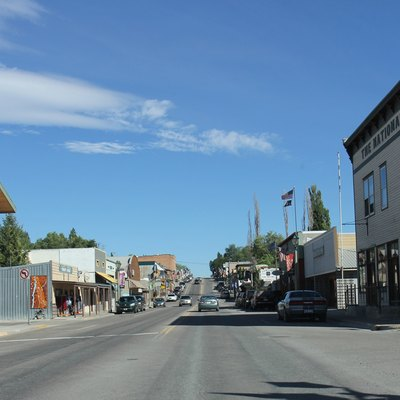 Looking northwest in downtown Eureka, Montana on U.S. Route 93.