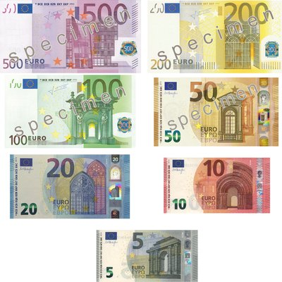 Euro Banknotes as of 4/4/2017
