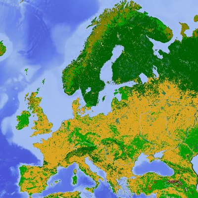 A map of land use in Europe. Yellow: cropland and arable, light green: grassland and pasture, dark green: forest, light brown: tundra or bogs, unshaded areas: other (including towns and cities). Underlying map is a terrain map.