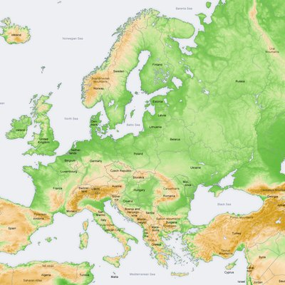 Topography in Europe, map in English.