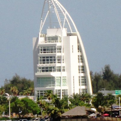 The Exploration Tower at 670 Dave Nesbit Drive in Port Canaveral, Florida is a seven-florr building which contains almost 5,500 square feet of exhibit space, interactive displays, two observations decks, an auditorium, gift shop and a cafe. (Source: Exploration Tower website)