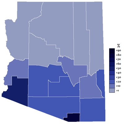 Extent of Spanish in Arizona. Source: Language Spoken at Home for the Population 5 Years and Over by County in State of Arizona, 2000. U.S. Census Bureau.