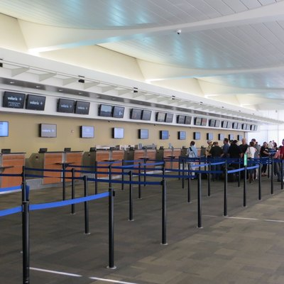 The check-in counters at Fresno/Yosemite International Airport