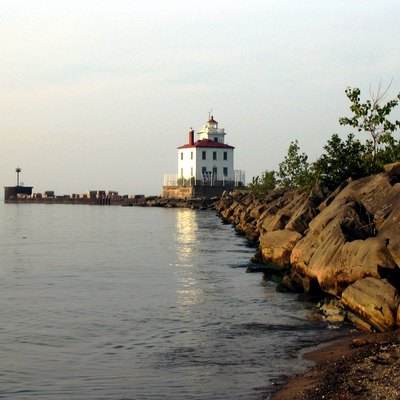 —Public Domain Fairport Harbor West Breakwater Light, Fairport Harbor viewd from the Headlands Dunes State Nature Preserve