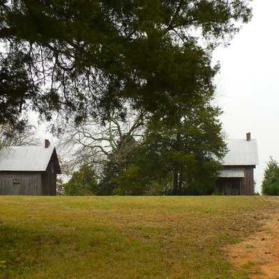Faunsdale Plantation's Gothic Revival slave quarters near Faunsdale, Marengo County, Alabama.