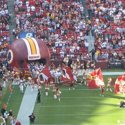 Redskins players enter the field during a game in October 2006.