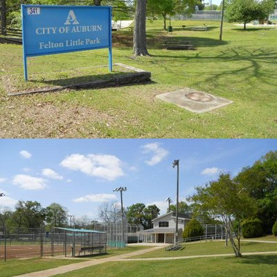 This is a photograph of Felton Little Park in Auburn, Alabama.