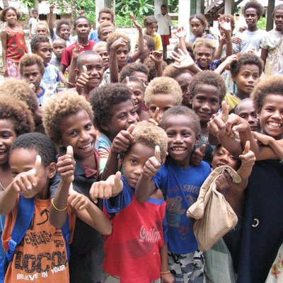 Children outside Tuo school, Fenualoa, Reef Islands, Solomon Islands.
