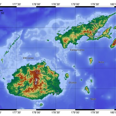 Topography of Fiji, created with GMT 5.1.2
