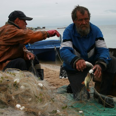 Fishermen in the Katun. Lake Baikal, Chivyrkuisky bay. Buryatia