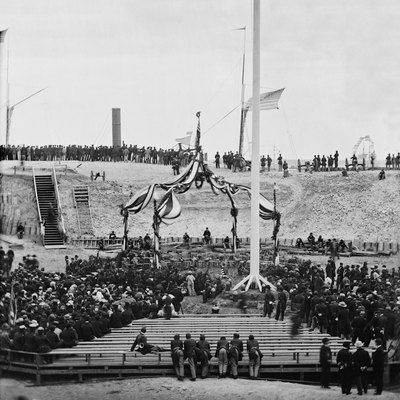 View of the flag-raising over Fort Sumter, Charleston Harbor, Charleston, South Carolina, April 14, 1865, with the arrival of Major General Robert Anderson and guests. Stereograph wet collodion negative. Library of Congress, Washington, D.C.