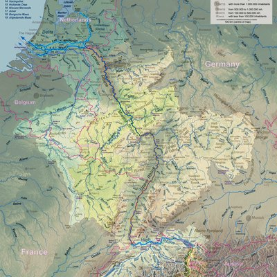 Rhine course and river system, place names in English