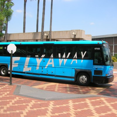 The FlyAway to LAX arrives at Union Station