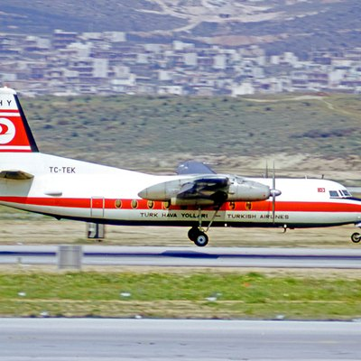 Fokker F.27 Friendship 100 TC-TEK of THY Turkish Airlines at Athens Hellenikon Airport in 1973