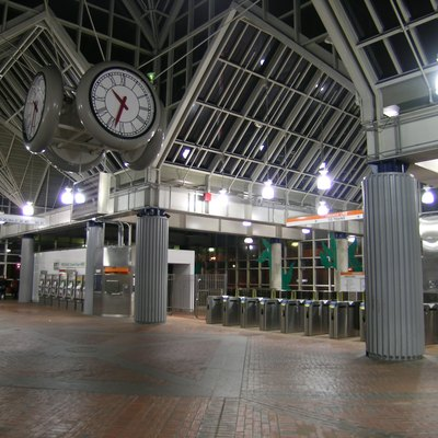 Interior of Forest Hills Station on the MBTA Orange Line and Needham line, located in Forest Hills, Jamaica Plain, Boston