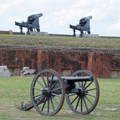 Cannons inside Fort Clinch, Florida, U.S.